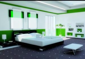 Phòng ngủ nổi bật với màu xanh lá cây