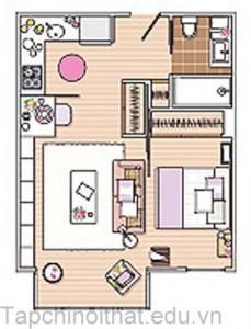 Cách bài trí căn hộ 40 mét vuông cực xinh và thoải mái