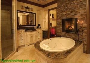 Những mẫu phòng tắm đẹp có lò sưởi