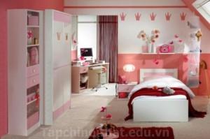 Thiết kế phòng ngủ nữ tính mang đậm phong cách Hàn Quốc