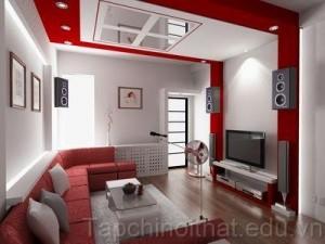 Màu đỏ xu hướng nội thất phòng khách ấn tượng