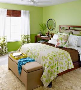 Phòng ngủ gần gũi và thư thái với gam màu xanh lá