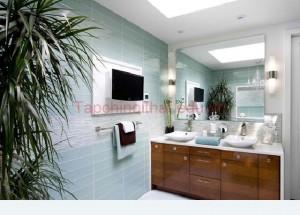 Ý tưởng thiết kế phòng tắm màu xanh ngọc
