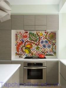 Không gian nhà bếp sáng tạo với tranh trang trí