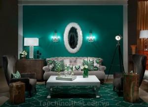 Thiết kế phòng khách màu xanh ngọc lục bảo