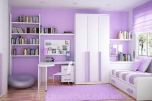 Phong thủy phòng ngủ cho trẻ màu tím