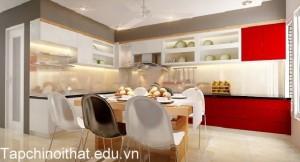 Gian bếp hiện đại và cá tính nhờ cách phối màu
