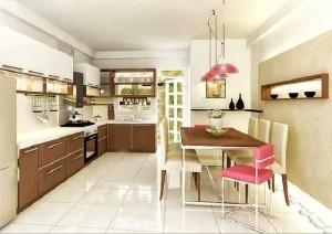 Phòng bếp  nhà ống với nội thất đẹp