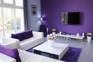 Phòng khách màu tím hợp phong thủy