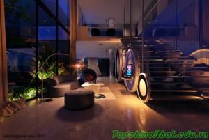 Phòng khách tinh tế với gam màu tự nhiên