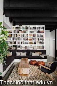 Thiết kế thư viện sách trong phòng khách