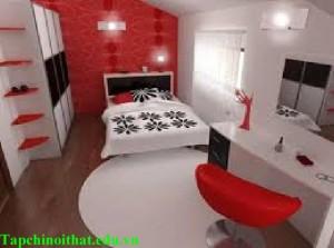 Thiết kế phòng ngủ hiện đại với màu đỏ
