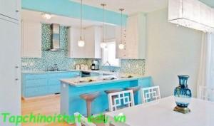 Thiết kế nội thất đẹp màu xanh ngọc lam