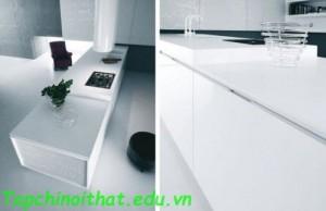 Thiết kế tủ bếp màu trắng hiện đại