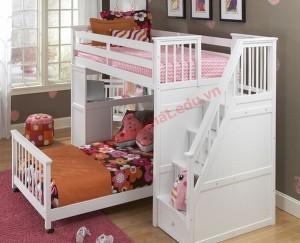 Mẫu giường chữ L vừa cung cấp chỗ ngủ cho 2 người, vừa có cả tủ kệ.