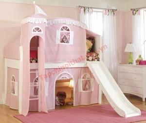 Mẫu giường công chúa này vừa là giường, vừa là phòng chơi cho bé.