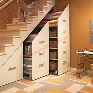 Biến gầm cầu thang thành tủ lưu trữ tiện lợi