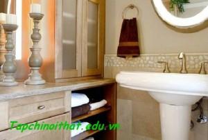 Bồn rửa màu trắng với không gian nhỏ
