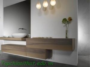 Phòng tắm sang trọng với ánh sáng đèn