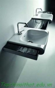 Bồn rửa 'Vanity' màu đen và trắng từ Kerasa