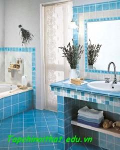 Phòng tắm khảm gạch khắp nơi
