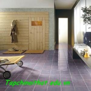 Sàn gạch kết hợp với gỗ