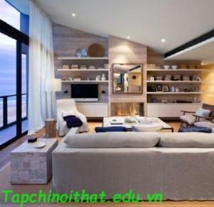 Phòng khách bằng gỗ hiện đại