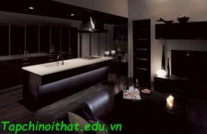 Nhà bếp mở với phòng khách trong căn hộ nhỏ