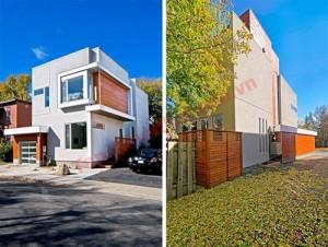 Sự kết hợp màu sắc và vật liệu tương phản thành công khiến ngôi nhà thực sự nổi bật.