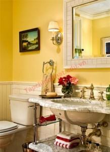 Đem lại sự đẹp mắt và không kém phần sang trọng cho phòng tắm chính là tông màu vàng hoặc nâu.