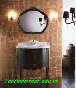 Gương và bồn rửa đồng điệu với nhau
