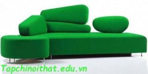 Sofa với lớp da màu xanh