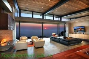 Phòng khách hiện đại hướng ra biển
