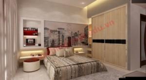 Phòng ngủ tông màu gỗ và xám nhạt mang lại cảm giác yên bình, thư thái