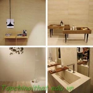 Thiết bị phòng tắm bằng vật liệu gỗ