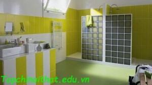 Tường gạch kính thời trang trong phòng tắm