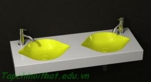 Ý tưởng thiết kế bồn rửa màu vàng chanh