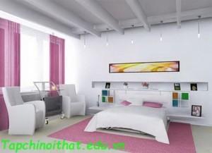 Thảm và rèm gam màu hồng