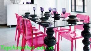Ghế bàn ăn màu hồng