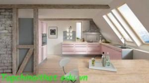 Bếp màu hồng nhạt