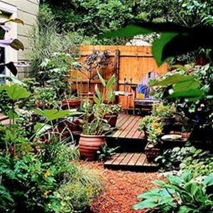 Một hàng rào gỗ như thế này sẽ mang tới sự ngăn cách cần thiết cho sân nhà