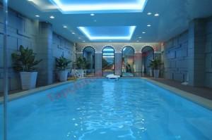 Thiết kế hồ bơi xanh thắm trong nhà