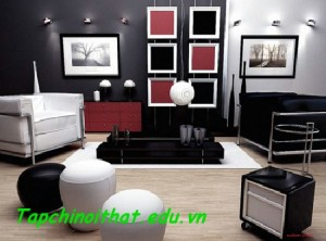 Căn phòng với màu đen chủ đạo