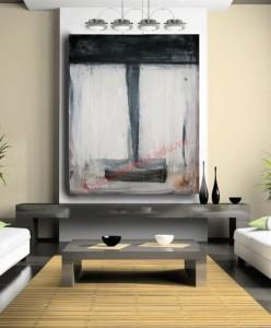 Bức tranh màu xám tựa hồ như đôi dòng thác chảy xuống khu vực phòng khách thiết kế theo phong cách thiền Nhật Bản.
