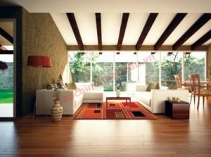 Mặt sàn phòng khách phải kiên cố, khi chọn màu sắc nên chọn màu theo phong thủy.