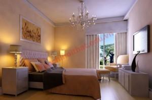 Phòng ngủ nên chọn đèn có màu theo phong thủy, màu sắc dịu nhẹ sẽ có lợi cho sức khỏe, tinh thần của gia chủ.