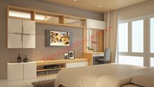 Phòng ngủ màu trung tính kết hợp hệ thống kệ đơn giản và đa năng.