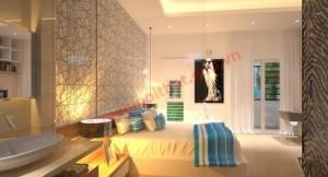 Thiết kế phòng ngủ với giấy dán tường đơn giản cá tính