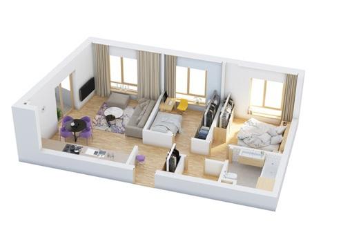 Một số mẫu căn hộ đẹp 2 phòng ngủ